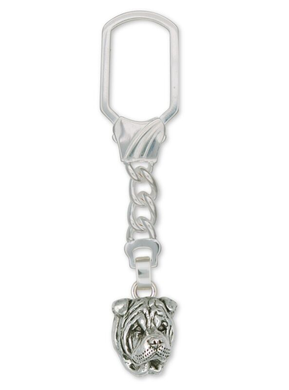 Shar Pei Key Ring Jewelry Sterling Silver Handmade Dog Key Ring SHP5-KR
