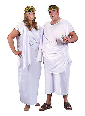 Greece Goddess Costume (Unisex White Toga Grecian Goddess Fancy Dress Costume Greece Party New)