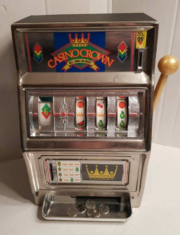 "VINTAGE WACO CASINO CROWN 25 CENT SLOT MACHINE 16"" TALL JAPAN  *TOY* WORKS!"