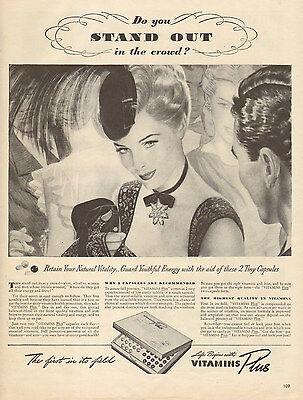 1944 WW2 era AD VITAMINS PLUS Retain Natural Vitality  Nice B&W Art ! 021217