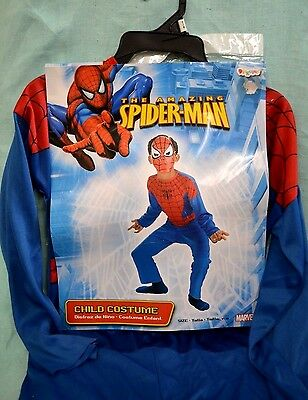 Halloween Amazing SPIDERMAN Costume SZ 7-8 CHILD New Boy GIRL RED Blue Marvel