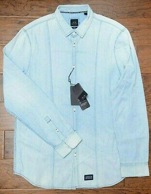 Armani Exchange A|X Men's Regular Fit Denim Washed Blue Cotton Casual Shirt XS