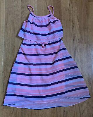 Nautica Girls size 5 Dress Peach Navy Blue Spaghetti Straps EUC