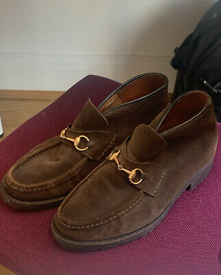 Gucci Brown suede loafers shoes boots mens UK 8