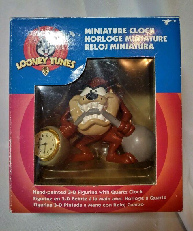 """Vintage 1997 Looney Tunes """"Tasmanian Devil"""" Miniature Clock ~ New Old Stock"""