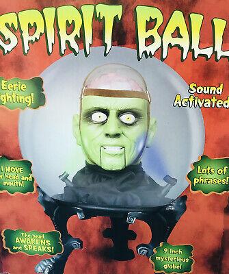 "Gemmy Halloween 9"" Spirit Crystal Ball Animated Green Brain Monster Talking"