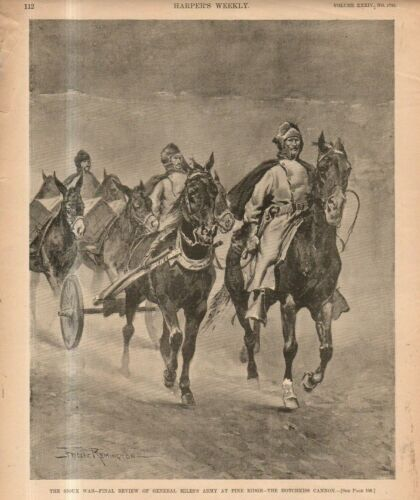 1891 Harpers Weekly February 7 Original Print by Remington - The Sioux War