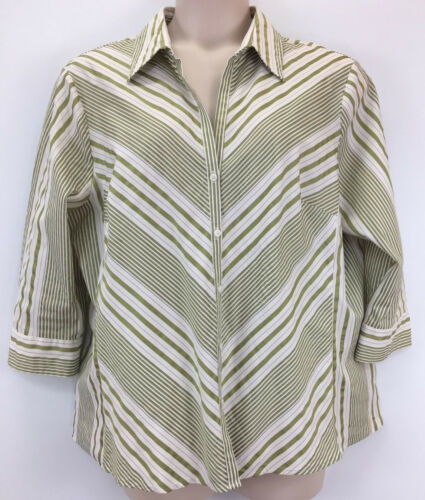 Worthington Women's Button Shirt Sz 2x Multi-color Striped Short Sleeve Stretch