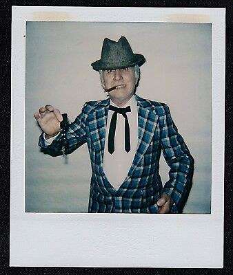 Vintage Polaroid Photograph Shady Salesman Costume Keys & Cigar Halloween