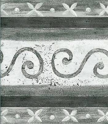 MODERN BLACK, GREY, WHITE SCROLL WALLPAPER BORDER