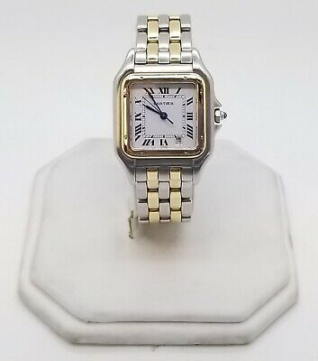 Cartier Women's Panthere Two Tone-Two Row 18K Yellow Gold Quartz Date 27mm NICE