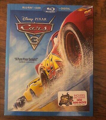 CARS 3 BLU-RAY + DVD + DIGITAL *AUTHENTIC DISNEY w/ SLIP COVER & NEW MINI MOVIE - Disney Cars Movie