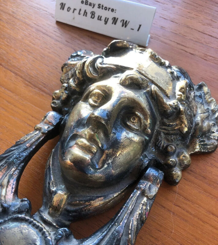 Vintage Cast Brass Bronze DOOR KNOCKER Victorian Face Roman ARCHITURAL SALVAGE