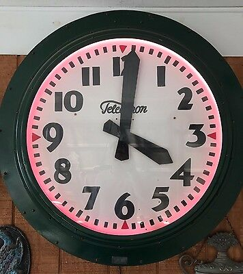 Large Vintage Antique Telechron Round Electric Wall Clock Neon 1940s USA Rare
