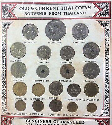 THAILAND COINS COLLECTION SET AMULET KING BHUMIBOL 5Satang-10 Baht BE1935-1997