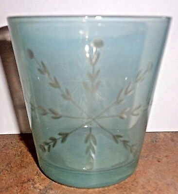 Hallmark FROSTED BLUE GLASS W/ETCHED SNOWFLAKE CANDLE HOLDER NWT