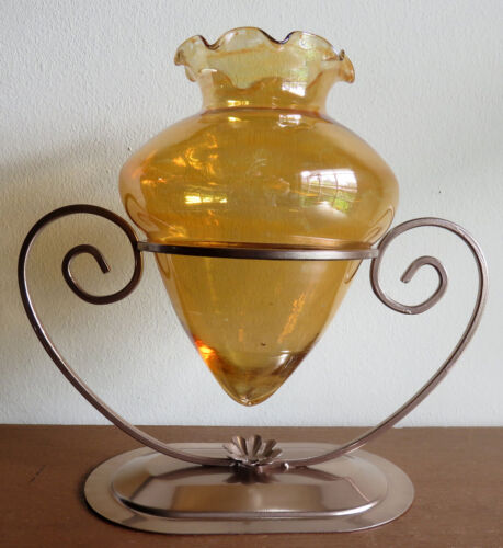 "MARIGOLD ""ACORN VASE"" with Metal Stand by Dunbar Glass of West Virginia, c.1930s"
