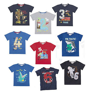 Kinder Jungen Zahlen T- Shirt, Neu, Minikidz, Geburtstag, Feuerwehr, Pirat, Hai
