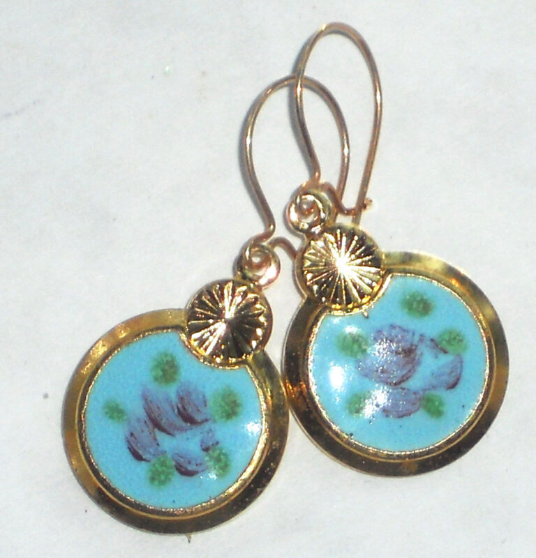 #1492H Vintage Earrings Guilloche Enamel Floral Gold Plated Flower Dangle Blue