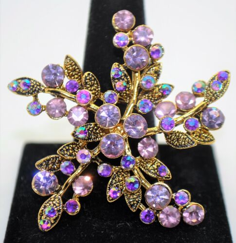 Retro flower Style purple color Brooches gold color high-quality Bouquet pin 245
