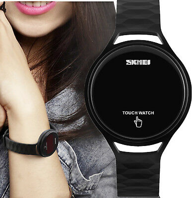 Women Silicone Rubber Touch Screen LED Digital Light Waterproof Sport Watch