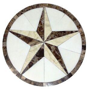 Floor marble medallion Texas star tile mosaic 48 crema