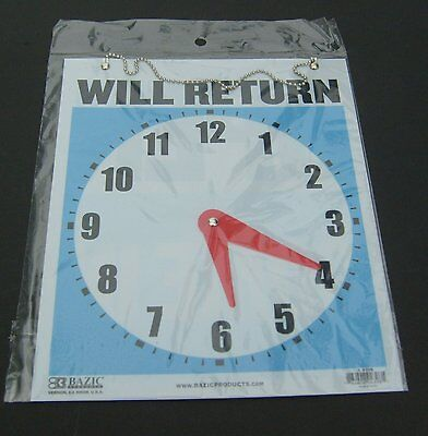 1 Open Come-in Will Return Clock Sign For Store Office Shop Business