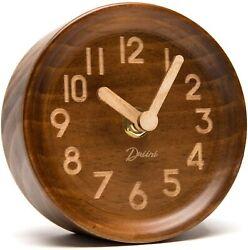 Driini Wooden Desk & Table Analog Clock Made of Genuine Pine (Dark Wood)