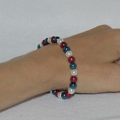 Red, White and Blue Beaded Stretch Bracelet - Patriotic Veterans Day - Handmade  - Red White And Blue Bracelet