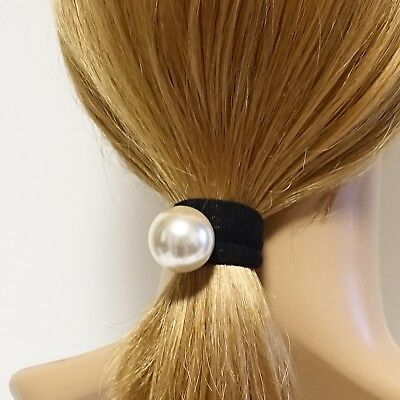 A Set of 2 Sleek Pearl Ball Dangling Elastic Bands Ponytail Holders