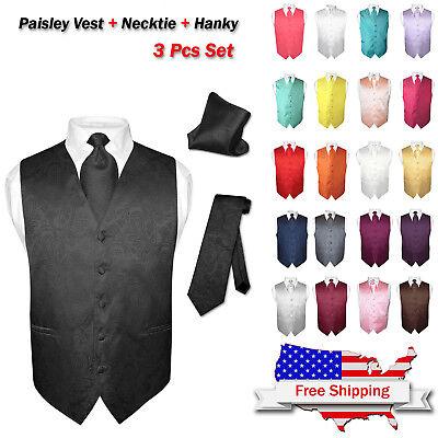 - Men's Dress VEST NeckTie for Suit Tuxedo PAISLEY Design Mens Vests Tie Hanky Set