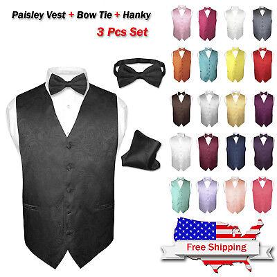 - Men's Dress VEST Bow Tie Hankie Set PAISLEY Design for Suit Tuxedo BowTie Hanky