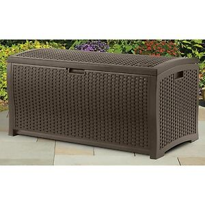 Pool Deck Box Patio Outdoor Resin Wicker Storage Chest Trunk Furniture  Cushions