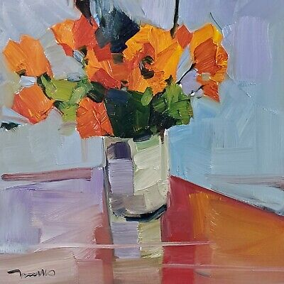 JOSE TRUJILLO Oil Painting STILL LIFE ORANGE FLOWERS IMPRESSIONISM ABSTRACT ART Still Life Oranges