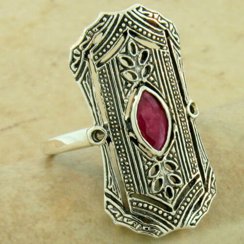 CLASSIC ART DECO GENUINE RUBY .925 STERLING SILVER ANTIQUE STYLE RING,     #1077