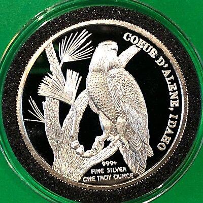 Hecla Mining Co  Bald Eagle Coeur D Alene 1 Troy Oz  999 Fine Silver Round Coin