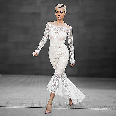 Mermaid Womens Long Sleeve - Vestidos Women Evening Dress Elegant Lace Long Sleeve Sheath Mermaid Dresses