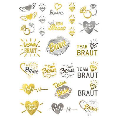 oos JGA Tattoo Set Braut - Team Braut Hochzeit Silber Gold (Hochzeit Temporäre Tattoos)