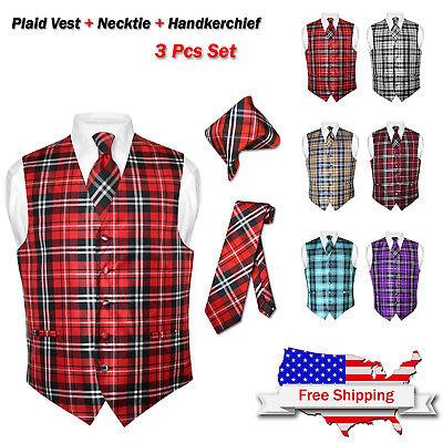 Men's Plaid Dress Vest NeckTie BROWN Blue RED GRAY PURPLE Neck Tie for Suit Tux (Mens Brown Vest)