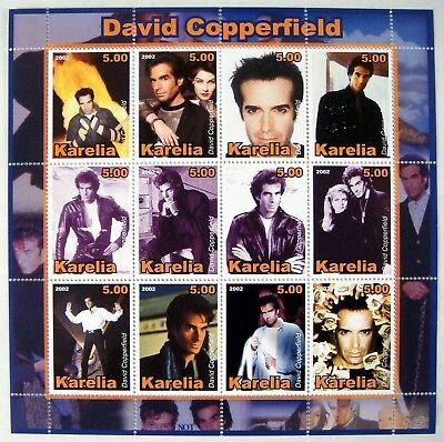 2002 MNH KARELIA DAVID COPPERFIELD STAMPS SHEET 12 MAGICIAN MAGIC STAMPS TRICKS
