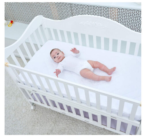 Waterproof Crib Mattress Protector Quilted Fitted Toddler & Baby Crib Pad Cover
