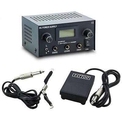 3in1 Tattoo Set Digital Netzteil Power Supply Fußpedal mit Clipcord Kabel N12-06 Digitale Tattoo Power Supply