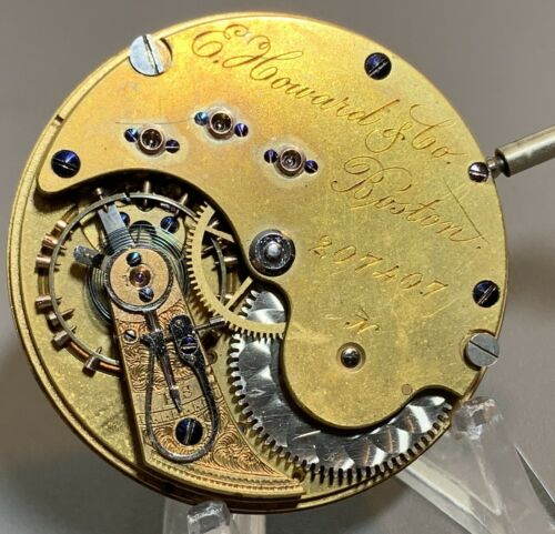 """18s E. Howard """"N"""" Size Series VII Movement with Stem~Running well"""