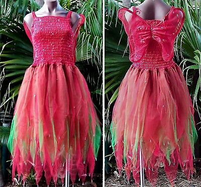 PLUS SIZE Fairy Dress Party Costume with Wings -  Red/Green - Plus Size Green Fairy Costume