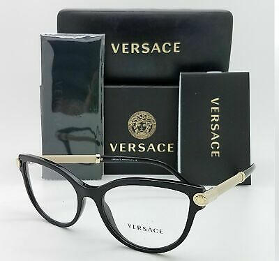 Versace RX Frame Cat Eyeglasses VE 3270 Q 5299 Black Beige Gold Optical New 54mm