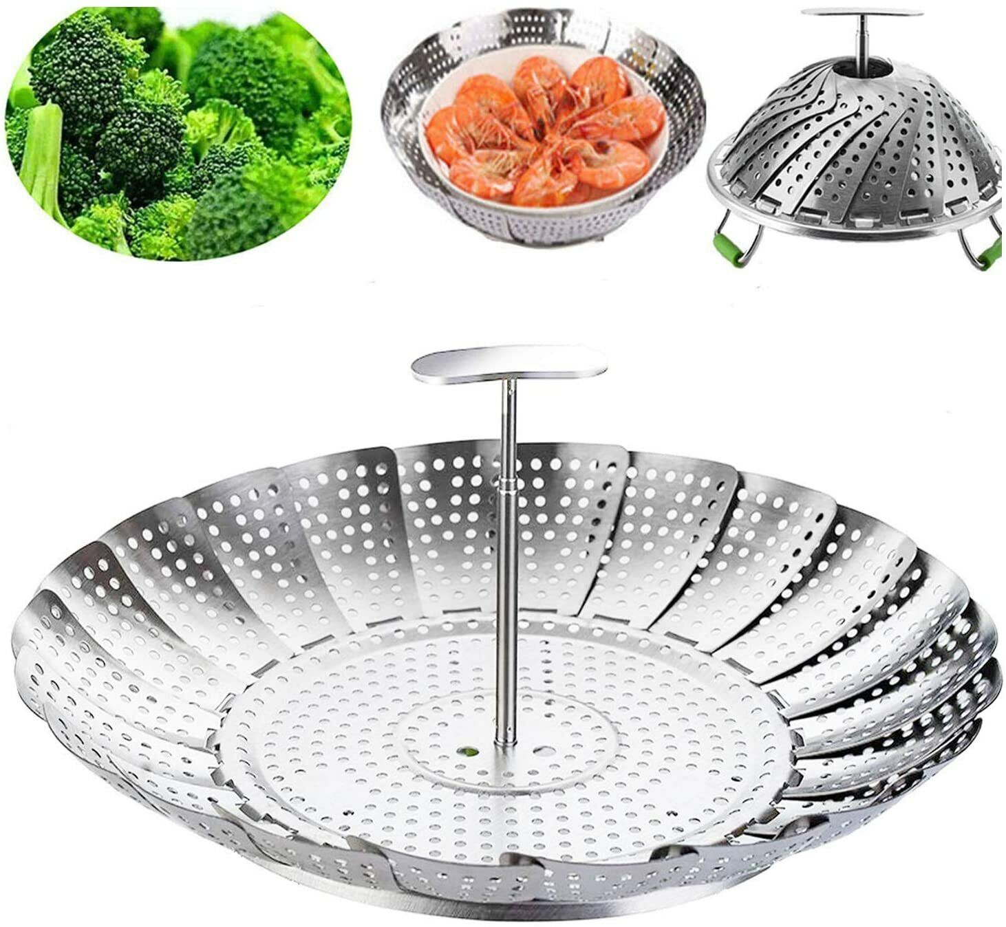 Steamer Basket Stainless Steel Cooking Veggie Seafood Foldin