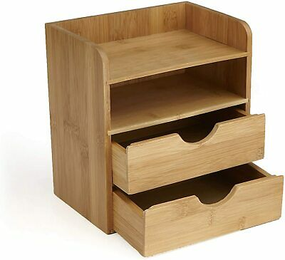 Mind Reader Desk Supplies Organizer With 2 Drawers Bamboo Brown New