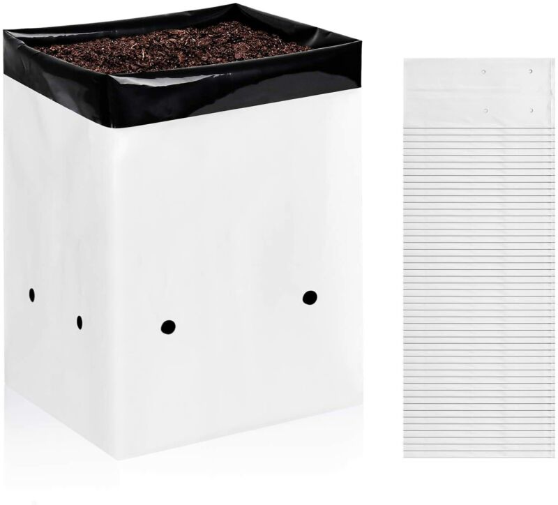 iPower 50-Pack 1/2/3/5 Gallon Black and White Grow Bags Panda Film Containers