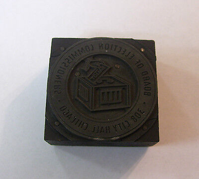 Vintage Printing Type Block Chicago Board Of Election Commissioners Seal