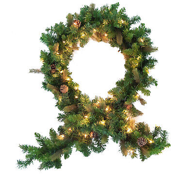 9FT Christmas Garland Pre-Lit Pine Cone Needle Greenery Home Stairs Decoration